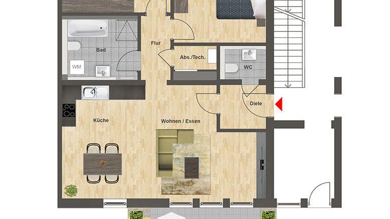 Höfe am Kaffeeberg Grundriss Haus B - Wohnung 1