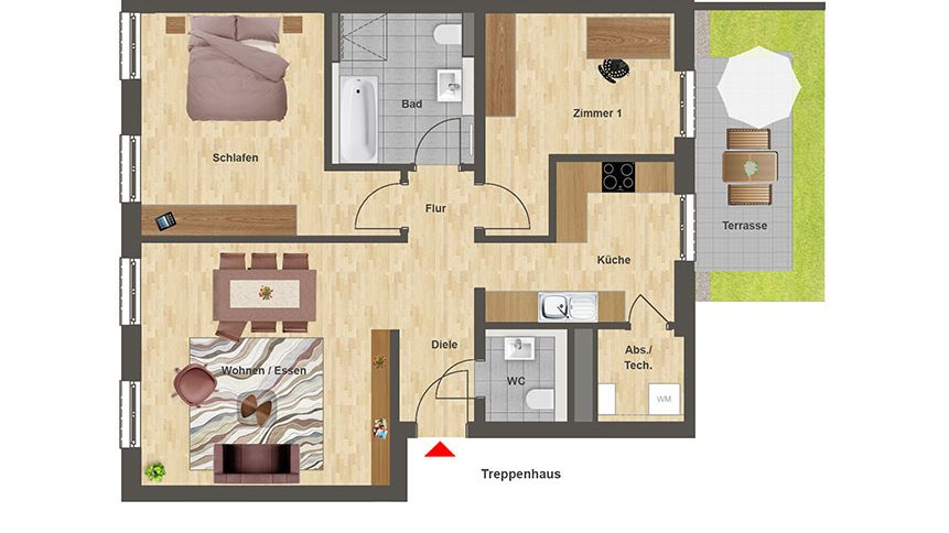 Höfe am Kaffeeberg Grundriss Haus C1 - Wohnung 1