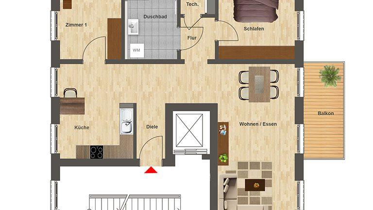Höfe am Kaffeeberg Grundriss Haus C2 - Wohnung 3