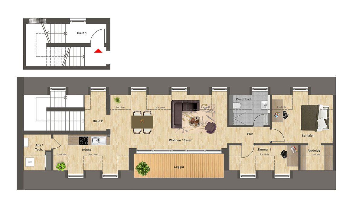 Höfe am Kaffeeberg Grundriss Haus F1 - Wohnung 2