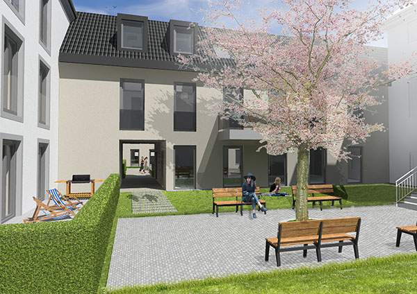 Höfe am Kaffeeberg Haus F2 Blick vom Hof