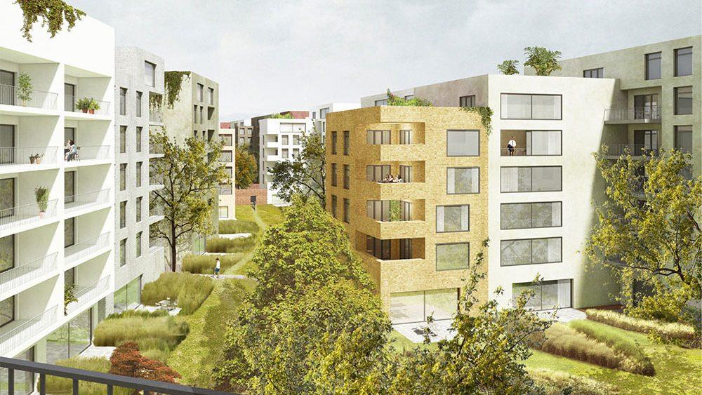 Projekt Lingner Alstadtgarten Dresden, Vorläufige Illustration der Bebauung: Peter Kulka Architektur