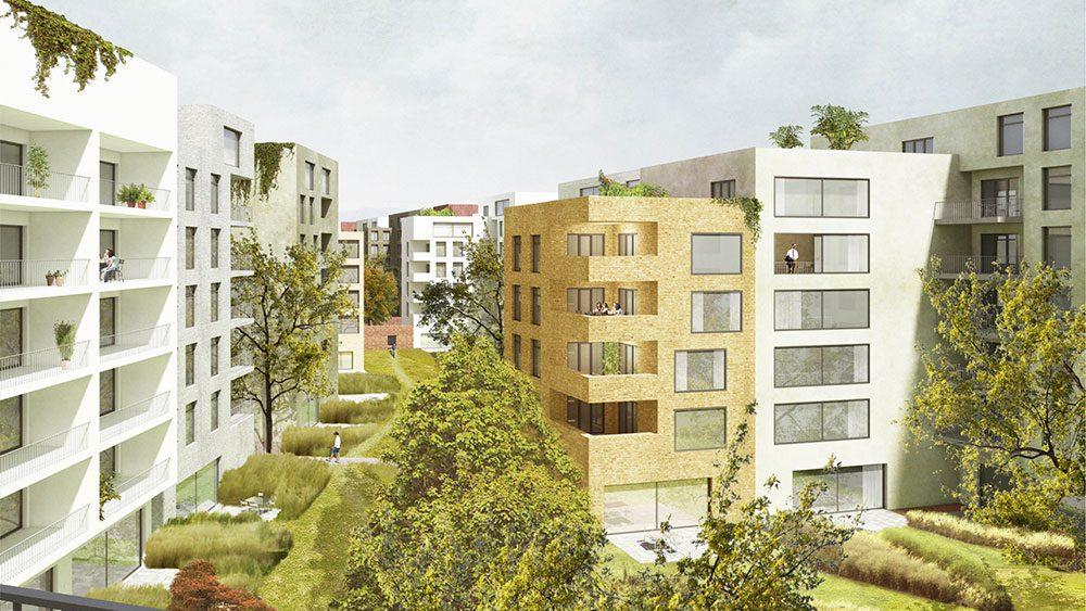 Projekt Lingner Altstadtgarten Dresden, Beispiel Visualisierung der Wohnbebauung