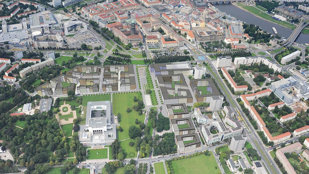 Projekt Lingner Altstadtgarten Dresden, Illustration der geplanten Wohnbebauung, Luftbild/Fotomontage: dresden-luftfoto.de/IMMOVATION AG
