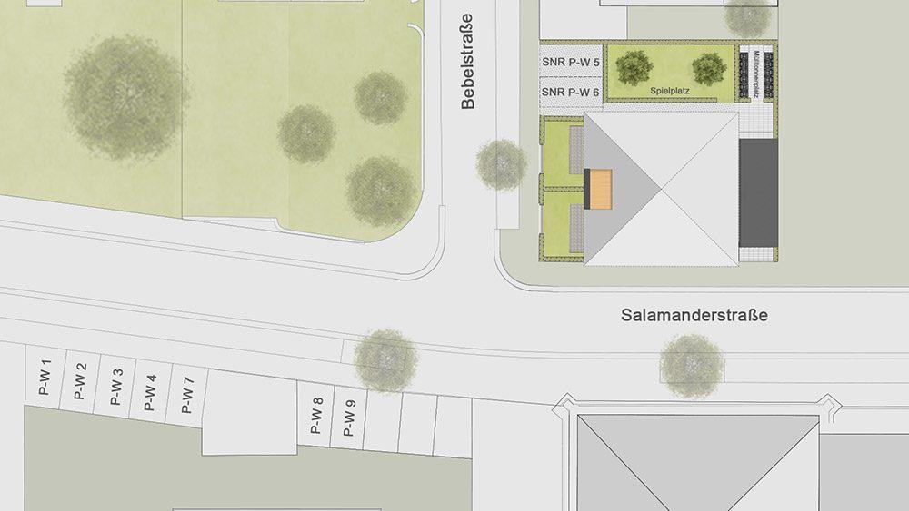 Lageplan Stadtvilla am Salamander-Areal