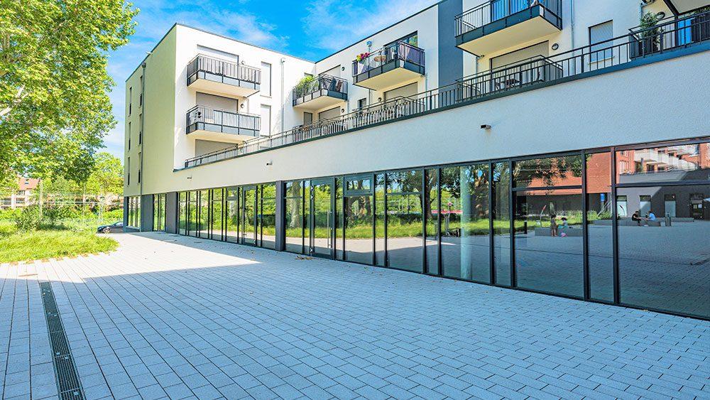 Salamander-Areal, Neubau mit Gewerbeflächen im Erdgeschoss